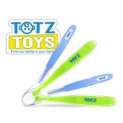 """Totz Toys """"Feed Easy"""" Baby Spoon Starter Pack (Includes Both Stage 1 & 2 Spoons!) - Perfectly Shaped to Make Feeding Time Easier - BPA Free, Dishwasher Safe, Hypo-Allergenic - Our Flexible Material is Kind to Your Baby's Gums - The Only Spoons You'll E .."""