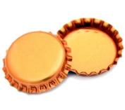 50 Orange Metallic Bottle Caps Shiny Colours Craft Linerless
