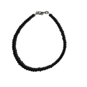 Handmade Deep Gloss Black Faux Pearl Glass Bead Beaded Anklet Ankle Chain