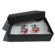 Handmade Red Poppy Flower Themed - Silver Plated Cufflinks - Gift Boxed