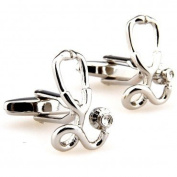 SCORPIUS GIFTS ' Stethoscope ' Doctor Theme Shiny Silver Colour Stainless Steel Cufflinks In Free Gift Bag
