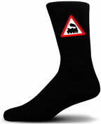 Black Socks With a Warning Train Sign. Perfect for that gift for that special person in your life. Like these, take a look at our great quality mugs and cufflinks to add to your gift choice.