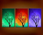 The Art Factory Abstract Modern Art Tree Landscape Painting x 3 Nos. 46cm x 30cm
