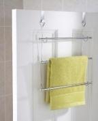 3 Tier Over Door Towel Rail Rack Chrome Hanger Holder Bathroom Organiser Storage