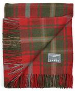 Classic Wool Blanket Throw Rug in Dark Maple Tartan