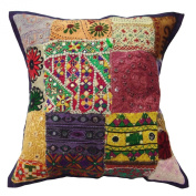 Cushion Cover Pillow Kutch Ethnic Pillow Mullticolour Square Pillow Case 18 X 18