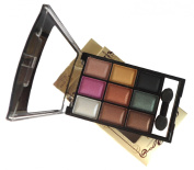 LyDia 9 Colours Diamond Smoky Shimmer EyeShadow Palette Makeup Kit Black/White Highlight/Brown/Purple/Gold/Green/Nude 8846-05