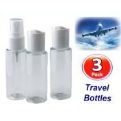 Set of 3 Plastic Toiletry Travel Bottles Airport Air / Flight Standard Holday Set