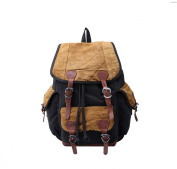 sulandy Unisex Vintage Backpack Leather Canvas Backpack Rucksack Canvas Casual School Hiking Travel Camping Laptop Backpack with Leather Strap ipad Bag For Teenage Girls/Boys
