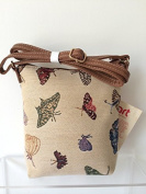 Butterflys Tapestry Messenger Bag, Red Green Cream Small Shoulder Bag ,Ladies Butterfly Crossbody Bag