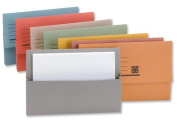 New. 5 Star Document Wallet Half Flap 250gsm Capacity 32mm Foolscap Yellow [Pack 50] . 297358SZ