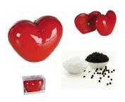 Ceramic Salt & Pepper Shakers Set Heart Shaped Red Love Kitchen Design Wedding Gift Valentines