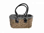 . Medium Grey Polka Dot Ladies French Market Shopping Basket Bag Handbag