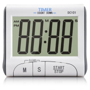 Homgaty Large LCD Screen Digital Kitchen Timer Alarm Count Up Down White