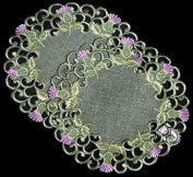 Pair of Doilies (small) in a Balmoral Thistle Design