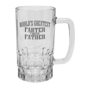 123t Mugs WORLD'S GREATEST FARTER ... FATHER 470ml Clear Glass Beer Mug/Stein