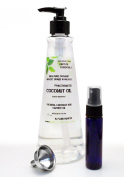 Earth's Essentials Exclusive Amazon Bundle-Organic Fractionated Coconut Oil-470ml Pump Bottle-USP Food Grade-Bundled With A 30ml Purse Size Mister Bottle And Stainless Steel Mini Funnel