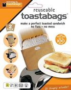 """Toastabags Reusable Non-Stick Sandwich/Snack """"In Toaster"""" Grilling Bags 2 Pack"""