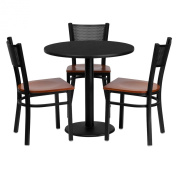 MFO 80cm Round Black Laminate Table Set with 3 Grid Back Metal Chairs - Cherry Wood Seat