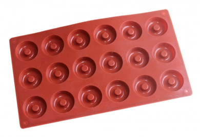 Ozera Silicone Mini Donut Pan, Muffin Cups, Cake Mould, Biscuit Mould, 18 Cavity, Red