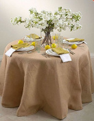 230cm Round Jute Burlap Round Table Overlay Table Cover - Natural. Made In USA.