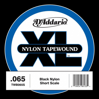 D'Addario TWB065S Nylon Tape Wound Bass Guitar Single String, .065