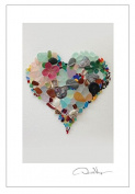 """Deluxe Gift Postcards for Framing - 10 Pack - 4x6 From Post Card Collection - """"Love"""" Sea Glass Heart- Unique and Great Presents for Anniversary, Birthday, Valentines Day, Mothers Day, Wedding & Best Christmas"""