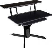Quick Lok Z460BK Triple Shelf Workstation with Black Wood Tops and Pull-Out Shelf and New Ergonomics