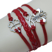 Beautiful Bead Exquisite Charm Braided Bracelet Handcraft with Butterfly and Petal Shaped Findings Red