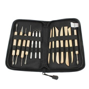Tinksky 14-in-1 Professional Wooden Metal Pottery Sculpture Clay Tools Kit