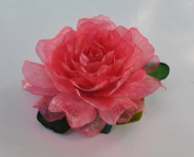 New Sweet Fashion Flower Bright Pink Rose Handmade Fish Scale Glitter Brooch Pin Hair Clip Accessory