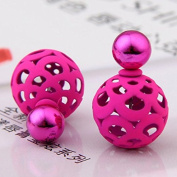 Bele Fashion Jewellery Hollow Out Charming Double-faced Ball Beads Plug Stud Earrings