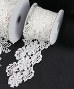 Floral Natural White Lace Ribbon, 7.6cm X 5y