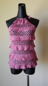 Vintage Knit Crochet Halter Top with ruffles - Pink