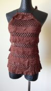 Vintage Knit Crochet Halter Top with ruffles - Brown