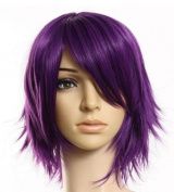 Weeck Short Purple Straight Hair Cosplay Costume Party Wig