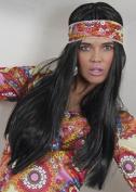 70s Hippy Girl Long Straight Black Wig