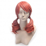 Toptheway Long Wavy Orangepink Anime Cosplay Synthetic Lace Front Wig