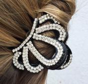 Black Rhinestone Diamante Crown Hair Claw Clip