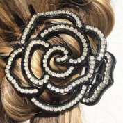 Black Rhinestone Diamante Flower Hair Claw Clip