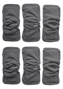 6 Pack Bamboo Charcoal Inserts or Doublers with Gussets for Baby Cloth Nappies Large 36cm X 13cm