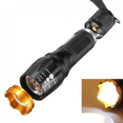 Distinguished Flashlight Torch Lamp Light Zoomable Skid Proof Body Black