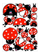 Ladybug Wall Decals / Ladybug Wall Stickers in Red with White Dots