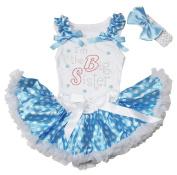Rhinestone I'm the Big Sister Top Blue White Dots Newborn Baby Skirt Set 3-12m