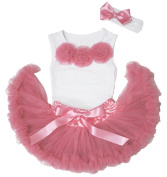 Pink Rose White Shirt Top Dusty Pink Newborn Baby Girl Pettiskirt Outfit 3-12m