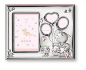 Silver Touch USA Sterling Silver Name, Date, Weight Picture Frame, Pink