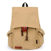 DGY Casual Canvas Travel Backpack Laptop Daypack E00121 Khaki
