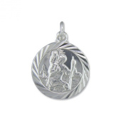 Mens Sterling Silver Medium Double Sided Travel Design St Christopher Pendant On A Black Leather Cord Necklace