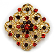 Elixir77UK Gold Colour Flower Decoration Fashion Gift Pin Brooch Badge with Crystals UK SELLER