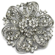 Elixir77UK Silver Colour Sparkly Flower Wedding Bridal Prom Gift Brooch With Plain Crystals UK SELLER